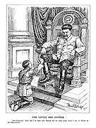 "The Little Red Father. ""Heil Kamerad! Now that I've dealt with Poland, tell me what peace terms I am to dictate to the Democracies."" (Hitler kneeling begs guidance from his master Stalin seated on a throne)"