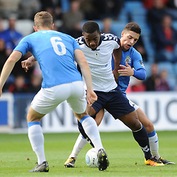 TELFORD COPYRIGHT MIKE SHERIDAN 15/9/2018 - Andre Brown of AFC Telford takes on Scott Duxbury and Dan Cowan of Stockport during the Vanarama Conference North fixture between AFC Telford United and Stockport County.
