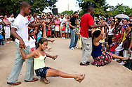 Dancing at the train station in Kilometro Cero, Cueto, Holguin, Cuba.