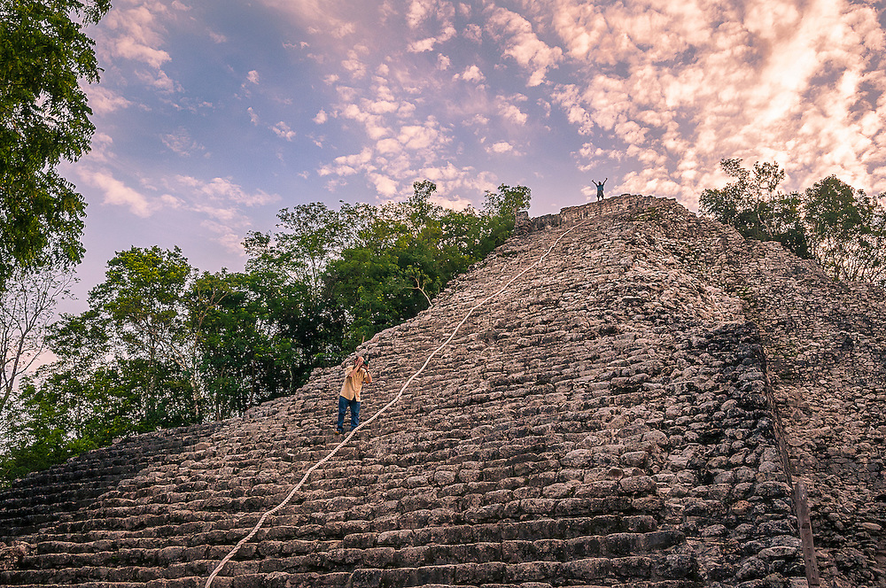 The main pyramid, Nohoch Mul, at Coba Mayan Ruins, Quintana Roo, Mexico.