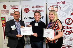 BNI Apollo chapter president Simon Meadows (Sterling Business Coaching), left, presents the chapter's latest notable networker certificates to Richard Wilson (DB Wood Ltd) and Colette Spence (Spence Accounting).  Richard brought the most visitors to the chapter in August, while Colette brought 10 external referrals to the chapter.<br /> <br /> Picture: Chris Vaughan Photography<br /> Date: September 18, 2017