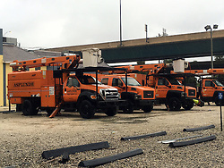October 7, 2016 - Orlando, FL, USA - Orange tree debris removal trucks lines the streets in some parts of Orlando in preparation for Hurricane Matthew Friday, Oct. 7, 2016. (Credit Image: © Christal Hayes/TNS via ZUMA Wire)