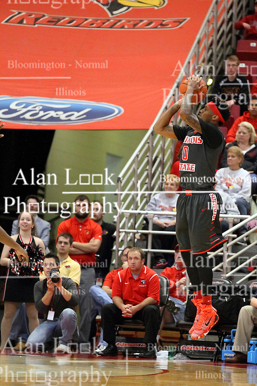 08 November 2015: A foot beyond the 3 point arch, Nick Banyard(0) lets go of a shot while completely unattended. Illinois State Redbirds host the Southern Indiana Screaming Eagles and beat them 88-81 in an exhibition game at Redbird Arena in Normal Illinois (Photo by Alan Look)