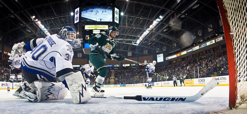 The Victoria Royals beat the visiting Everette Silvertips 4-1 in front of a sold out crowd at the Save-on-Foods Memorial Centre to cap off the 2015-16 regular season In Victoria, B.C., Canada on March 19, 2016. <br /> <br /> Tyler Soy scored twice for the Royals with rookie Mathew Phillips and Vladimir Bobylev scoring once. <br /> <br /> The Royals reached the 50-win plateau (50-16-3-3) for the first time in franchise history, and finished the regular season as the top team in the WHL with 106 points. The club also extended their franchise best winning streak to 13 games.