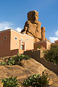 Tafraoute architecture built in amid the rocky terrain of the region, Anti Atlas Mountains, Souss Massa Draa region of Southern Morocco