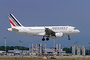 Airfrance Airbus A319 passenger jet at takeoff Photographed at Malpensa Airport, Milan, Italy