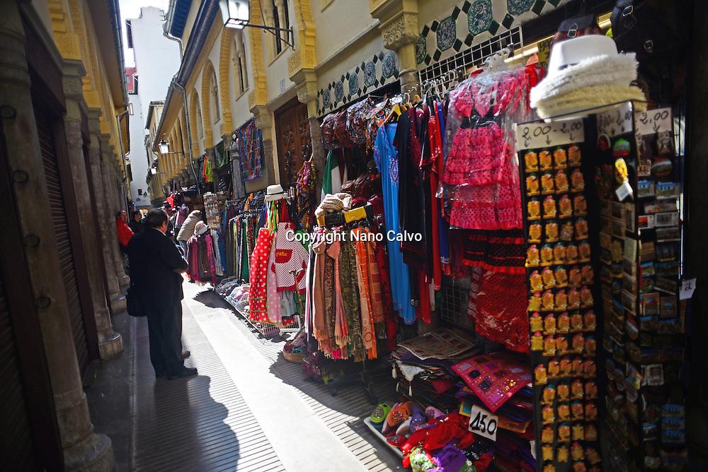 Street shops in Granada, Spain