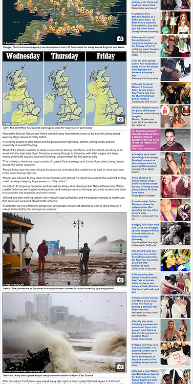 Debris littering the promenade in Southsea, Hampshire, UK - http://www.dailymail.co.uk/news/article-2532067/New-Year-reveller-feared-drowned-swept-sea-paddling-Atlantic-storm-sweeps-Britain.html