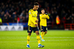 Pierre-Emerick Aubameyang of Arsenal cuts a dejected figure after defeat to Sheffield United - Mandatory by-line: Robbie Stephenson/JMP - 21/10/2019 - FOOTBALL - Bramall Lane - Sheffield, England - Sheffield United v Arsenal - Premier League