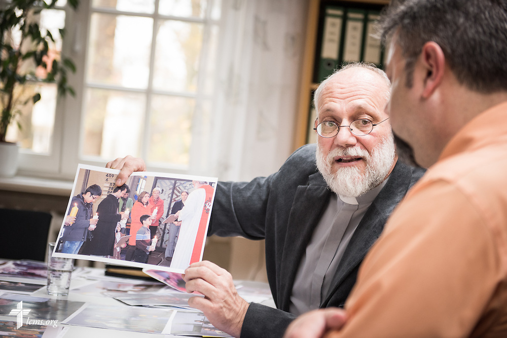 The Rev. Thomas Seifert, pastor of Paul-Gerhardt Gemeinde, a SELK Lutheran church in Braunschweig, Germany, discusses his work with refugees during a planning meeting at the SELK headquarters on Thursday, Nov. 12, 2015, in Hannover, Germany. LCMS Communications/Erik M. Lunsford