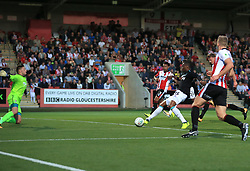 Diafra Sakho of West Ham United hits a shot straight at Jonathan Flatt of Cheltenham Town - Mandatory by-line: Paul Roberts/JMP - 23/08/2017 - FOOTBALL - LCI Rail Stadium - Cheltenham, England - Cheltenham Town v West Ham United - Carabao Cup