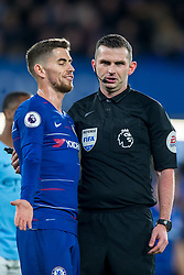 December 8, 2018 - London, Greater London, England - Jorginho of Chelsea and referee Michael Oliver during the Premier League match between Chelsea and Manchester City at Stamford Bridge, London, England on 8 December 2018. (Credit Image: © AFP7 via ZUMA Wire)