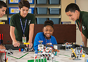 Students work on a Lego League Robotics challenge at Clifton Middle School, November 6, 2014.