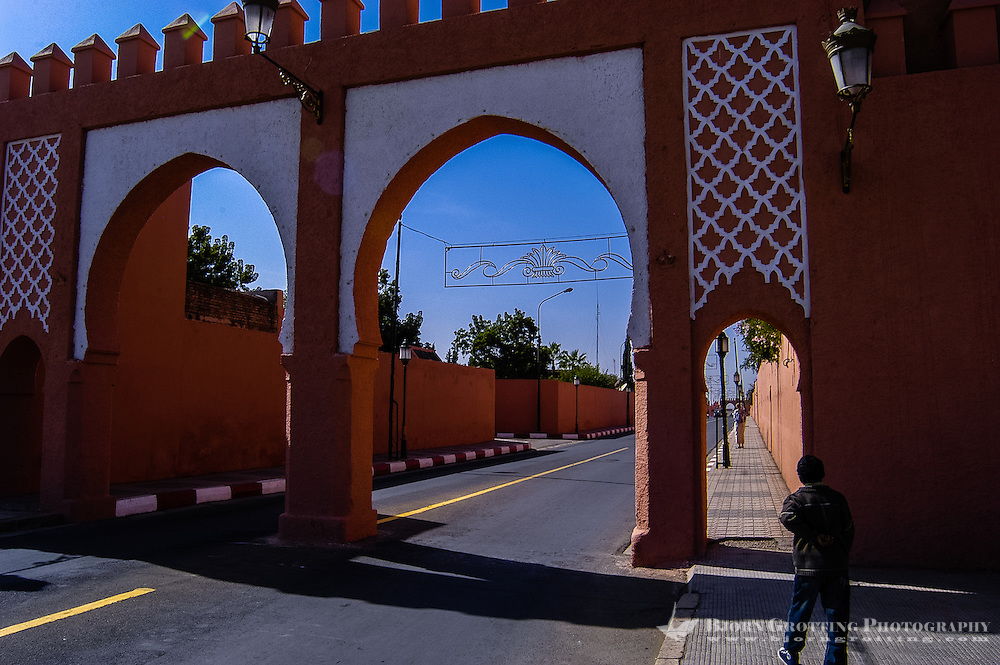 Morocco. A gate close to the Presidential palace in Marrakesh.