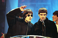 Liam and Noel Gallagher of Oasis, The BRIT Awards 1995 <br /> Monday 20 Feb 1995.<br /> Alexandra Palace, London, England<br /> Photo: JM Enternational