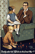 Daddy, what did YOU do in the Great War?. First World War (1914-1918) British propaganda recruitment poster.  Man in armchair with little girl on his knee thinks what could he tell his children if he did nothing .