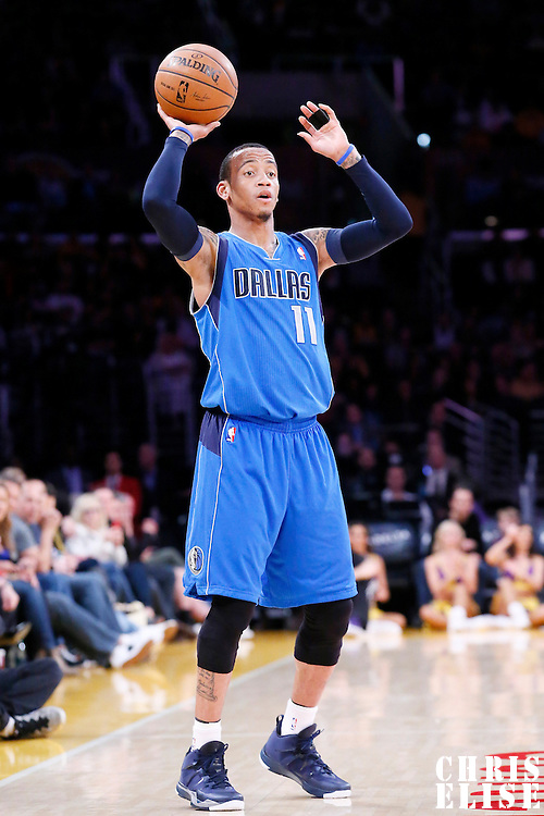04 April 2014: Dallas Mavericks guard Monta Ellis (11) looks to pass the ball during the Dallas Mavericks 107-95 victory over the Los Angeles Lakers at the Staples Center, Los Angeles, California, USA.