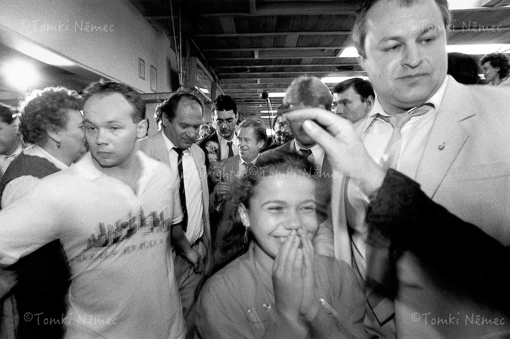 Slovakia, 17 May 1990 - Presov.Vaclav Havel after a visit to the Captain Nalepka Clothing Enterprise, told journalists: 'there are a lot of cute girls here, it's impossible to breathe where people have to work,  the factory is rather good in comparison with the big armaments plants I've visited' .