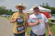 Old Westbury, New York, USA. June 2, 2019. L-R, SCOTT GRAMLICH, of Baldwin, holds 2 award plaques his 1925 Model T Ford won, and KEITH GRAMLICH, holds the award plaque his 1928 Studebaker Dictator, Club Sedan won at the 53rd Annual Spring Meet Antique Car Show, sponsored by the Greater NY Region (NYGR) of the Antique Automobile Club of America (AACA), at Old Westbury Gardens, a Long Island Gold Coast estate.