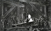Casting a roll for a rolling mill for steel rails, Bilston, Staffordshre, England.  Engraving, 1870.