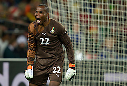 Goalkeeper of Ghana Richard Kingson shouts  during to the 2010 FIFA World Cup South Africa Quarter Finals football match between Uruguay and Ghana on July 02, 2010 at Soccer City Stadium in Sowetto, suburb of Johannesburg. (Photo by Vid Ponikvar / Sportida)