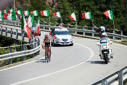 Kelly van den Steen (BEL) leads the break in the closing kilometres Stage 2 of 2019 Giro Rosa Iccrea, an 78.3 km road race starting and finishing in Viù, Italy on July 6, 2019. Photo by Sean Robinson/velofocus.com
