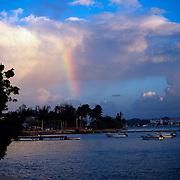 Sunset with rainbow.San Juan, Puerto Rico