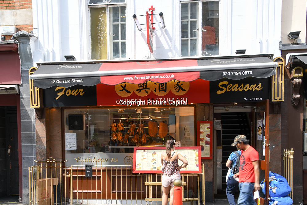 Four Season Chinese restaurants in Chinatown London on July 19 2018, UK
