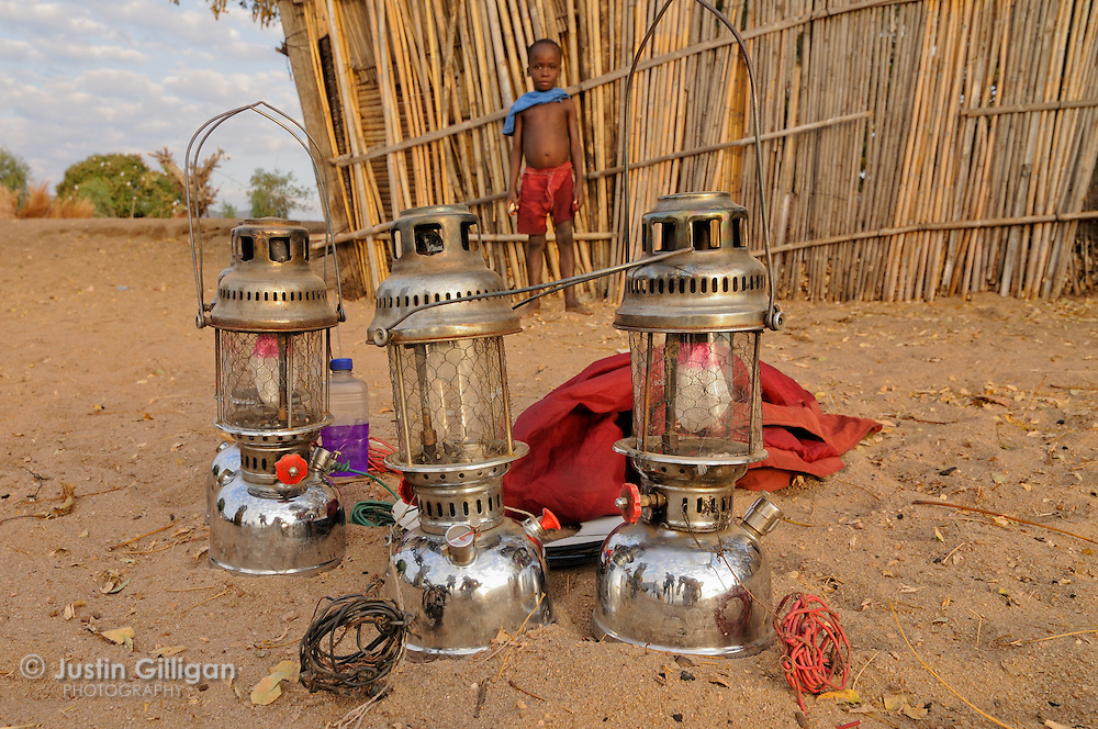 Lamps used to attract usipa on the lakeshore, Cape Maclear, Lake Malawi, Malawi.