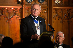 © Licensed to London News Pictures. 05/09/2019. London, UK. Lord Mayor of the City of London, Peter Estlin makes a speech at the International Trade Dinner at Guildhall. Photo credit: Ray Tang/LNP