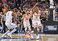 Houston Cougars guard Armoni Brooks (3) and center Chris Harris Jr. (1) celebrate after defeating the San Diego State Aztecs in the first round of the 2018 NCAA Tournament at INTRUST Bank Arena.