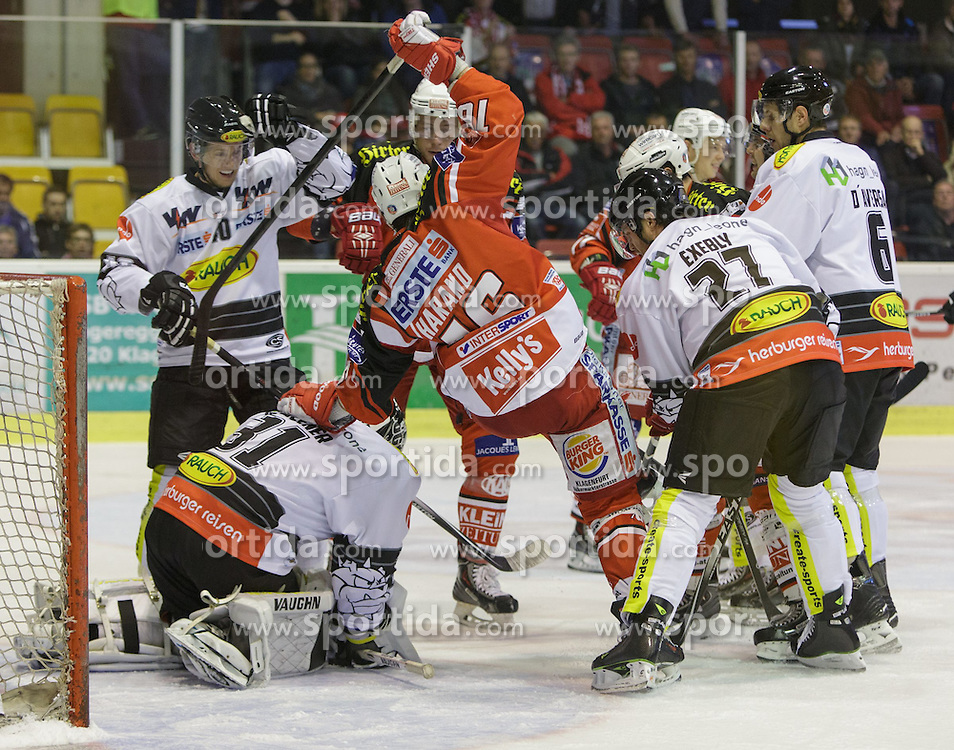 02.10.2014, Stadthalle, Klagenfurt, AUT, EBEL, EC KAC vs Dornbirner Eishockey Club, 7. Runde, im Bild David Madlaner (Dornbirner Eishockey Club, #31), Adam Miller (Dornbirner Eishockey Club, #40), Patrick Harand (EC KAC, #16), Garnet Exelby (Dornbirner Eishockey Club, #27), Jonathan D'Aversa (Dornbirner Eishockey Club, #) // during the Erste Bank Icehockey League 7th round match betweeen EC KAC and Dornbirner Eishockey Club at the City Hall in Klagenfurt, Austria on 2014/10/02. EXPA Pictures © 2014, PhotoCredit: EXPA/ Gert Steinthaler