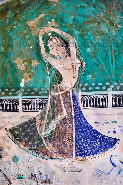Inde, Rajasthan, Ville de Bundi, Le Palais, peinture murale, Chitra Shala, 18e-19e siecle // India, Rajasthan, Bundi castle, wall painting, the Chitra Shala, 18-19 century,