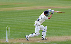 Durham's Michael Richardson drives the ball off the bowling of Somerset's Lewis Gregory. - Photo mandatory by-line: Harry Trump/JMP - Mobile: 07966 386802 - 13/04/15 - SPORT - CRICKET - LVCC County Championship - Day 2 - Somerset v Durham - The County Ground, Taunton, England.