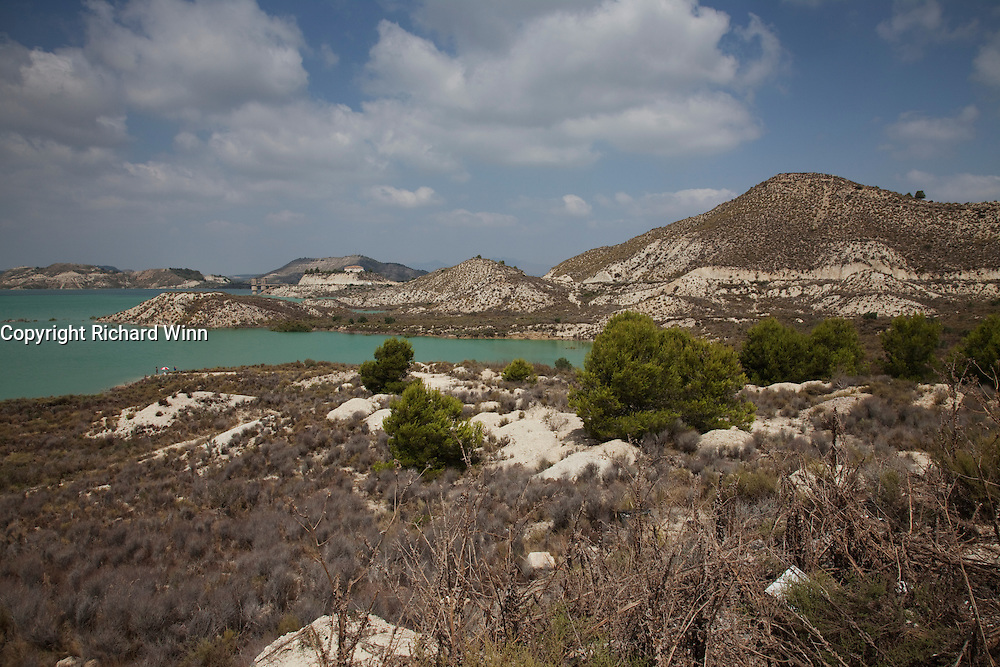 Rural setting in the Murcia region of Spain, showing the reservoir of Embalsa de la Pedrera.