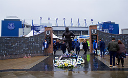 LIVERPOOL, ENGLAND - Sunday, March 3, 2019: A statue of former Everton striker Dixie Dean, the second highest scorer in Derby games, pictured outside a rainy Goodison Park ahead the FA Premier League match between Everton FC and Liverpool FC, the 233rd Merseyside Derby. (Pic by Laura Malkin/Propaganda)