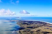 Nederland, Friesland, Schiermonnikoog, 28-02-2016; Schiermonnikoog met Banckspolder, gezien vanaf Oosterstrand en Oosterkwelder. Ameland in het verschiet.<br /> Wadden island Schiermonnikoog, Wadden sea. <br /> <br /> luchtfoto (toeslag op standard tarieven);<br /> aerial photo (additional fee required);<br /> copyright foto/photo Siebe Swart