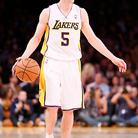 17 November 2013: Los Angeles Lakers point guard Steve Blake (5) brings the ball upcourt during the Los Angeles Lakers 114-99 victory over the Detroit Pistons at the Staples Center, Los Angeles, California, USA.