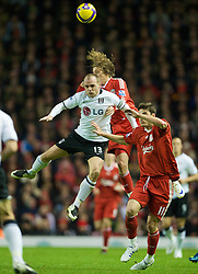 LIVERPOOL, ENGLAND - Saturday, November 22, 2008: Fulham's captain Danny Murphy wins a header against Liverpool during the Premiership match at Anfield. (Photo by David Rawcliffe/Propaganda)