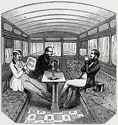 Smoking Saloon on the Eastern Counties Railway, England.