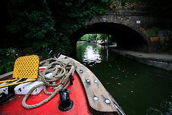 UK ENGLAND LONDON 12AUG07 - Old bridge spanning the Regency Canal, viewed from the bow of a canal boat...jre/Photo by Jiri Rezac..© Jiri Rezac 2007..Contact: +44 (0) 7050 110 417.Mobile:  +44 (0) 7801 337 683.Office:  +44 (0) 20 8968 9635..Email:   jiri@jirirezac.com.Web:    www.jirirezac.com..© All images Jiri Rezac 2007 - All rights reserved.