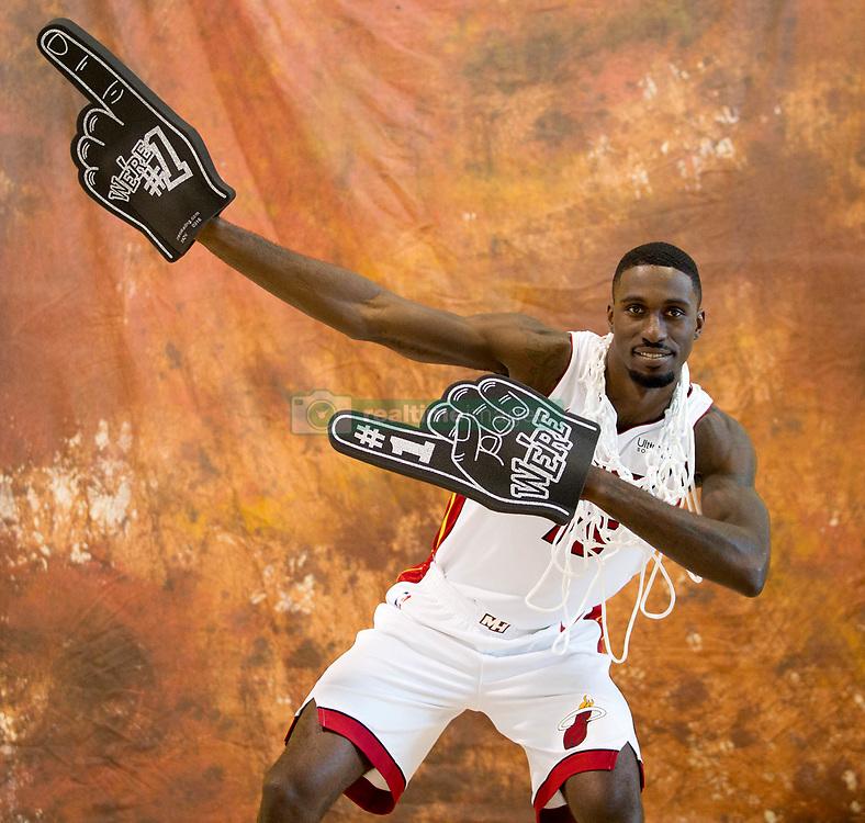 September 25, 2017 - Miami, Florida, U.S. - Miami Heat forward Okaro White (15) at Media Day at AmericanAirlines Arena in Miami, Florida on September 25, 2017. (Credit Image: © Allen Eyestone/The Palm Beach Post via ZUMA Wire)
