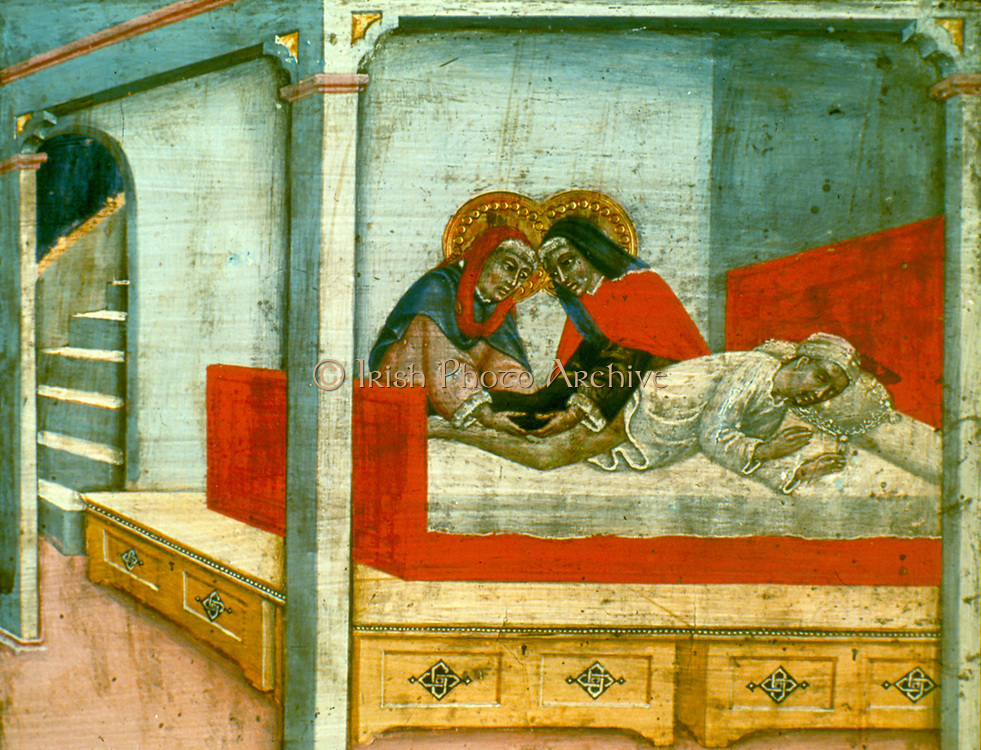 Altarpiece of Saint Cosmas and Saint Damian (The Sick Sacristan). Twin brothers b orn in Syria, these Christian saints martyred c303, were skilled physicians and surgeons and are shown attending a patient. Legend says they transplanted a leg from a corpse. Patron saints of surgeons.