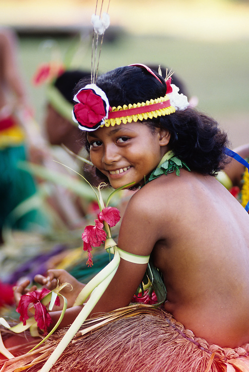 Tamil Village Dancers in traditional dance attire.  Yap, Wa`ab, Waqab, Federated States of Micronesia, islands in the Caroline Islands