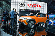 New York, NY - 12 April 2017. Toyota showed its FT-4X concept SUV at the show. The SUV has some unusual features, including a removable panel that reveals a picture window on the driver's side, and a rear hatch that opens both vertically and as two barn doors.