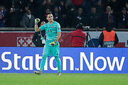 Keylor NAVAS (PSG) celebration, after stopped the penalty from Mbaye Diagne (FC Bruges), Mbaye Diagne (FC Bruges), Marco Verratti (PSG), Fresnel Kimpembe (PSG) during the UEFA Champions League, Group A football match between Paris Saint-Germain and Club Brugge on November 6, 2019 at Parc des Princes stadium in Paris, France - Photo Stephane Allaman / ProSportsImages / DPPI