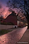 Wetherburn's Tavern at dusk during Christmas season.  18th Century scene at historic Colonial Williamsburg, Williamsburg, Virginia