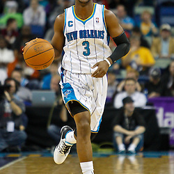 January 24,  2011; New Orleans, LA, USA; New Orleans Hornets point guard Chris Paul (3) against the Oklahoma City Thunder during the first quarter at the New Orleans Arena. Mandatory Credit: Derick E. Hingle