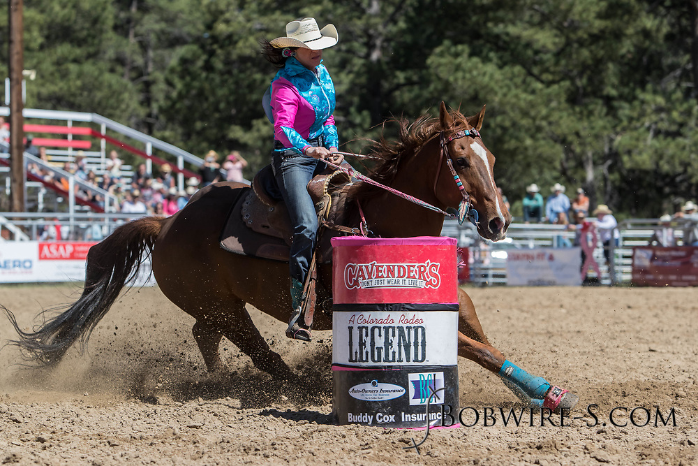 Lauren Guntle makes her barrel racing run in the first performance of the Elizabeth Stampede on Saturday, June 2, 2018.