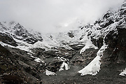 General view of the Lantang Lirung glacier, Langtang Valley, Nepal, on the 29th May 2009<br /> <br /> According to Dorothea Stumm, a glaciologist at the Nepal-based International Centre for Integrated Mountain Development, this massive hanging glacier cracked when an earthquake struck at 11.56am on the 25th April 2015. The ice formed a cloud that gathered snow and rocks and then funnelled down the mountain, burying the village of Langtang and partially destroying Kinjin Gompa village, and creating an enormous pressurised blast. 400 residents of Langtang village and up to 100 trekkers staying there are believed to have been killed.<br /> <br /> PHOTOGRAPH BY AND COPYRIGHT OF SIMON DE TREY-WHITE<br /> <br /> + 91 98103 99809<br /> email: simon@simondetreywhite.com<br /> photographer in delhi